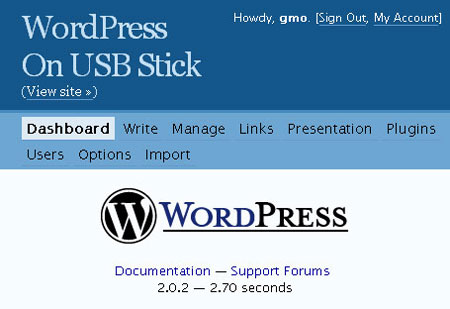 wordpress on usb stick