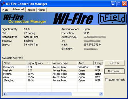 wi-fire advanced tab